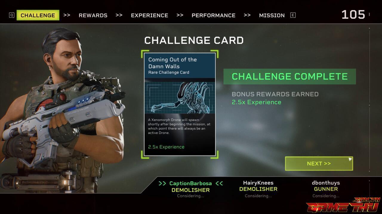 Để tăng thêm gia vị cho các nhiệm vụ, bạn có thể chọn các thẻ thử thách đặc biệt bổ sung các phần bổ trợ và tiền thưởng thú vị, một số trong số đó khiến Xenomorphs trở thành mối đe dọa lớn hơn.